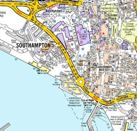 Southampton A Z Wall Map